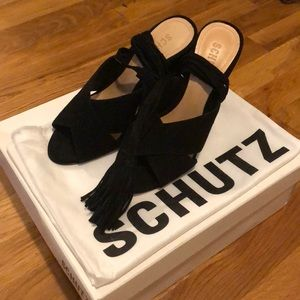 Suede Schutz Heels with Tassel Ties